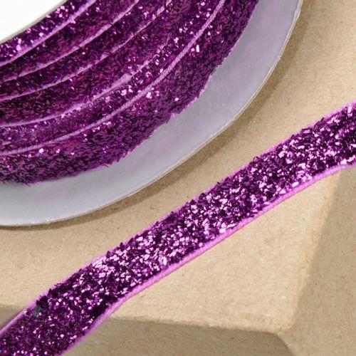 10mm Wide Velvet Glitter Ribbon - Fuchsia