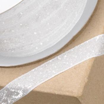 10mm Wide Velvet Glitter Ribbon - White