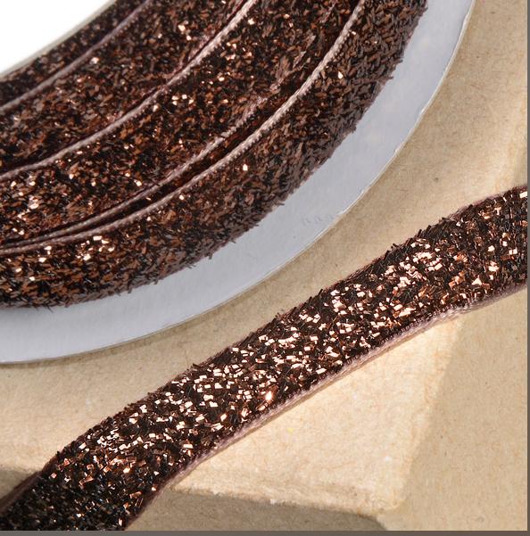 10mm Wide Velvet Glitter Ribbon - Brown