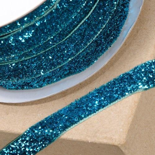 10mm Wide Velvet Glitter Ribbon - Turquoise