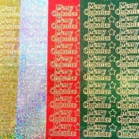 Super Sparkly Merry Christmas Peel Off Sticker Sheet