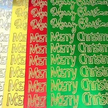 Super Shiny Merry Christmas Peel Off Sticker Sheet