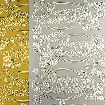 Oval Happy Christmas Peel Off Sticker Sheet
