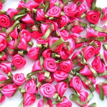Mini Satin Ribbon Roses With Leaf 25mm - Cerise Pink