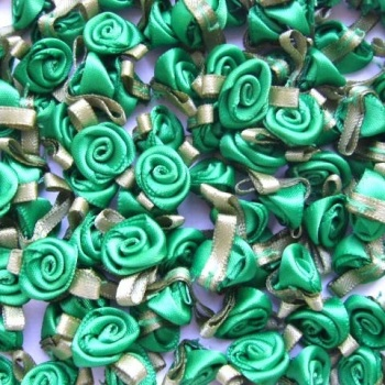 Mini Satin Ribbon Roses With Leaf 25mm - Emerald Green