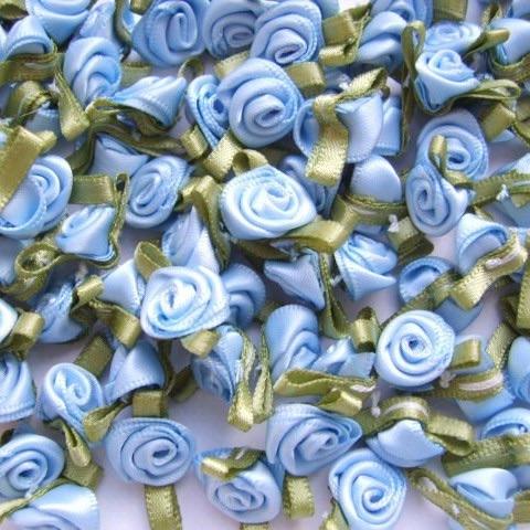 Mini Satin Ribbon Roses With Leaf 25mm - Light Blue
