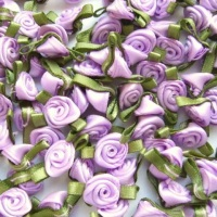 Mini Satin Ribbon Roses With Leaf 25mm - Lilac
