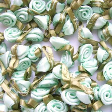 Mini Satin Ribbon Roses With Leaf 25mm - Mint Green