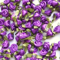 Mini Satin Ribbon Roses With Leaf 25mm - Purple