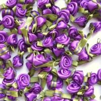 Mini Satin Ribbon Roses With Leaf 25mm - Purple