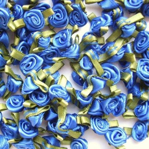 Mini Satin Ribbon Roses With Leaf 25mm - Royal Blue