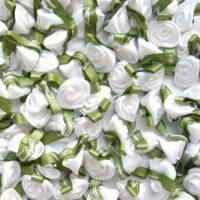 Mini Satin Ribbon Roses With Leaf 25mm - White
