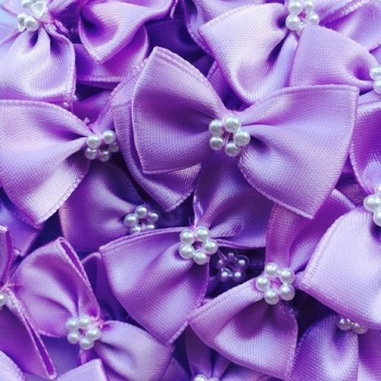 Satin Ribbon Bow Ties With Pearl Centre 3.5cm - Lilac