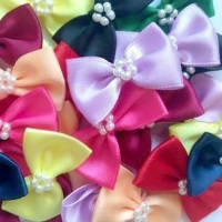 Satin Ribbon Bow Ties With Pearl Centre 3.5cm - Mixed