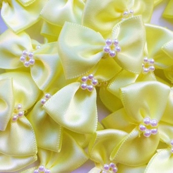 Satin Ribbon Bow Ties With Pearl Centre 3.5cm - Yellow