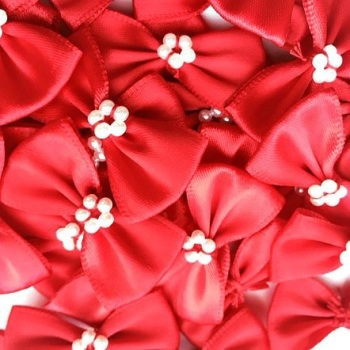 Satin Ribbon Bow Ties With Pearl Centre 3.5cm - Red