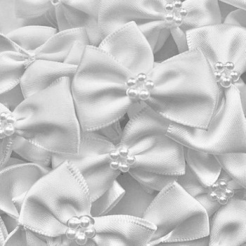 Satin Ribbon Bow Ties With Pearl Centre 3.5cm - White