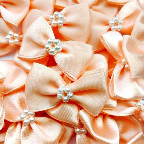 Satin Ribbon Bow Ties With Pearl Centre 3.5cm - Peach