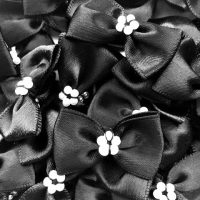 Satin Ribbon Bow Ties With Pearl Centre 3.5cm - Black