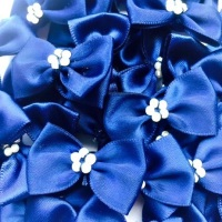 Satin Ribbon Bow Ties With Pearl Centre 3.5cm - Navy