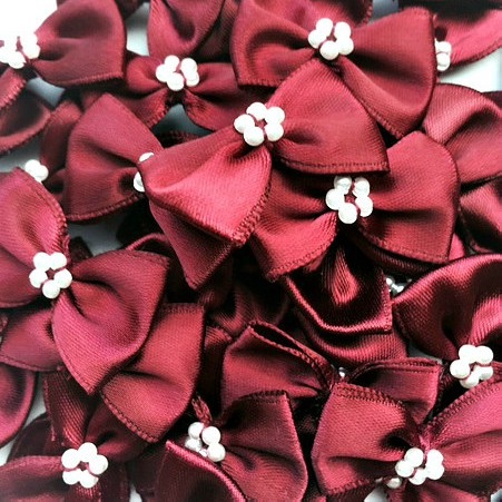 Satin Ribbon Bow Ties With Pearl Centre 3.5cm - Burgundy