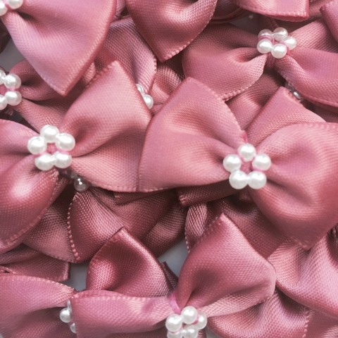 Satin Ribbon Bow Ties With Pearl Centre 3.5cm - Dusky Pink