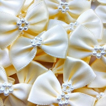 Satin Ribbon Bow Ties With Pearl Centre 3.5cm - Ivory