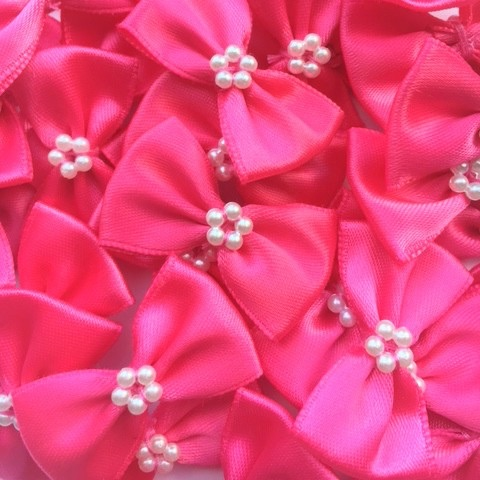 Satin Ribbon Bow Ties With Pearl Centre 3.5cm - Cerise Pink