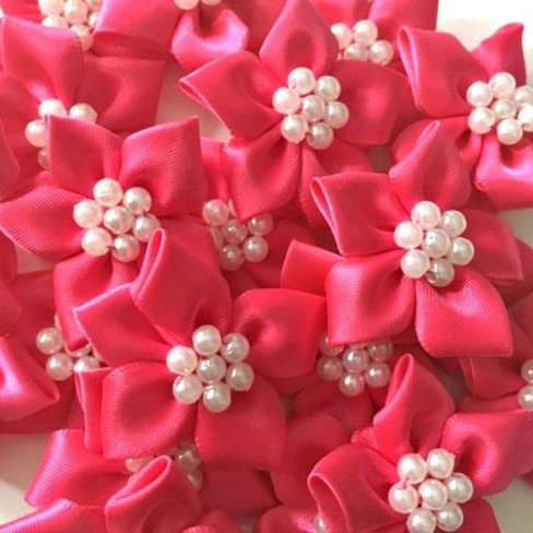 Satin Ribbon Poinsettia Flowers With Pearl Centre 4cm - Cerise Pink