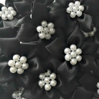 Satin Ribbon Poinsettia Flowers With Pearl Centre 4cm - Black