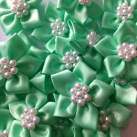 Satin Ribbon Poinsettia Flowers With Pearl Centre 4cm - Mint Green