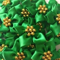 Satin Ribbon Poinsettia Flowers With Bead Centre 4cm - Emerald Green