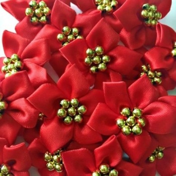 Satin Ribbon Poinsettia Flowers With Bead Centre 4cm - Red