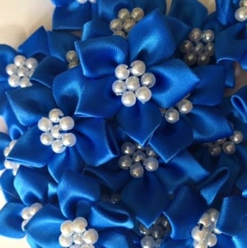 Satin Ribbon Poinsettia Flowers With Pearl Centre 4cm - Royal Blue