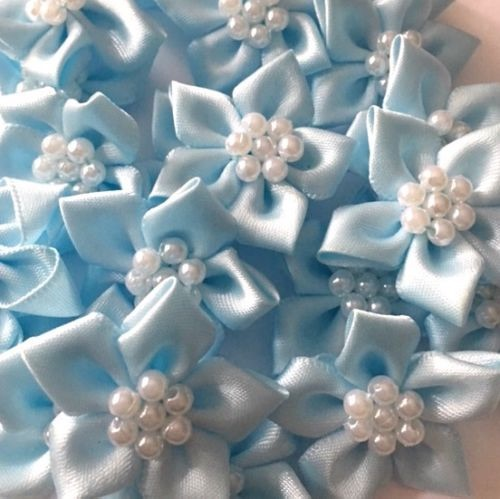 Satin Ribbon Poinsettia Flowers With Pearl Centre 4cm - Light Blue