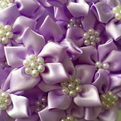 Satin Ribbon Poinsettia Flowers With Pearl Centre 4cm - Lilac
