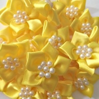 Satin Ribbon Poinsettia Flowers With Bead Centre 4cm - Yellow