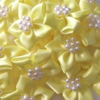 Satin Ribbon Poinsettia Flowers With Bead Centre 4cm - Lemon