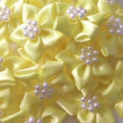 Satin Ribbon Poinsettia Flowers With Bead Centre 4cm - Lemon