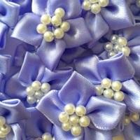 Satin Ribbon Poinsettia Flowers With Bead Centre 4cm - Lavender