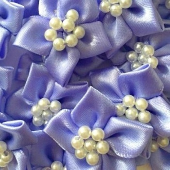 Satin Ribbon Poinsettia Flowers With Bead Centre 4cm - Lavender