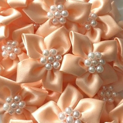 Satin Ribbon Poinsettia Flowers With Bead Centre 4cm - Peach