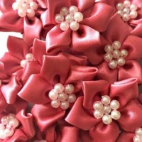 Satin Ribbon Poinsettia Flowers With Bead Centre 4cm - Dusky Pink