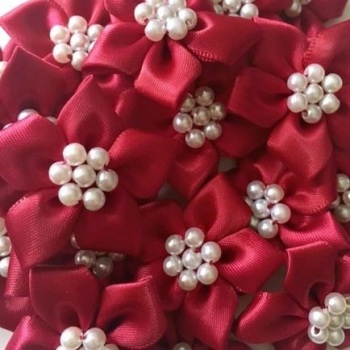 Satin Ribbon Poinsettia Flowers With Pearl Centre 4cm - Burgundy