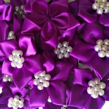 Satin Ribbon Poinsettia Flowers With Pearl Centre 4cm - Purple