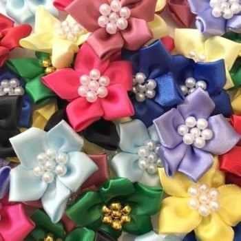 Satin Ribbon Poinsettia Flowers With Pearl Centre 4cm - Mixed