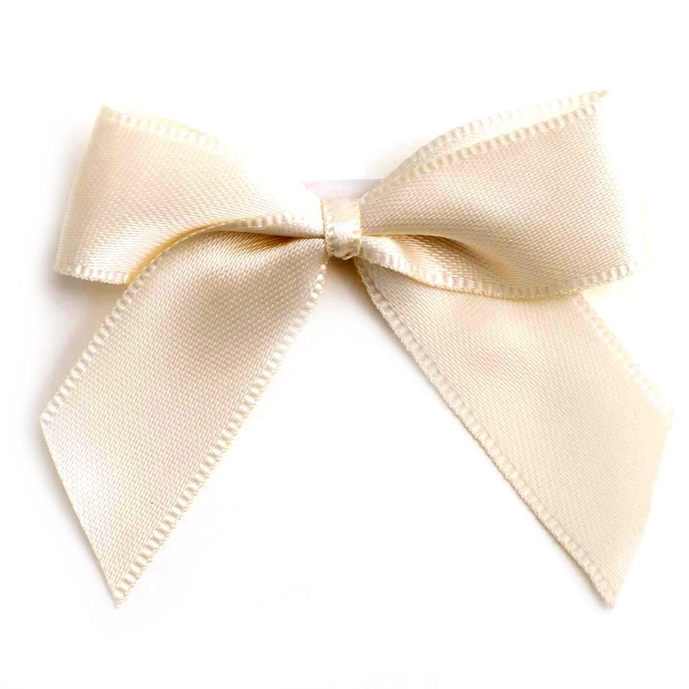 Satin Fabric 15mm Ribbon Bows - Ivory