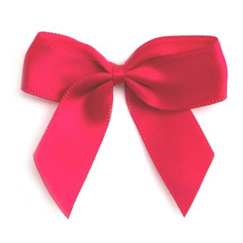 Satin Fabric 15mm Ribbon Bows - Red