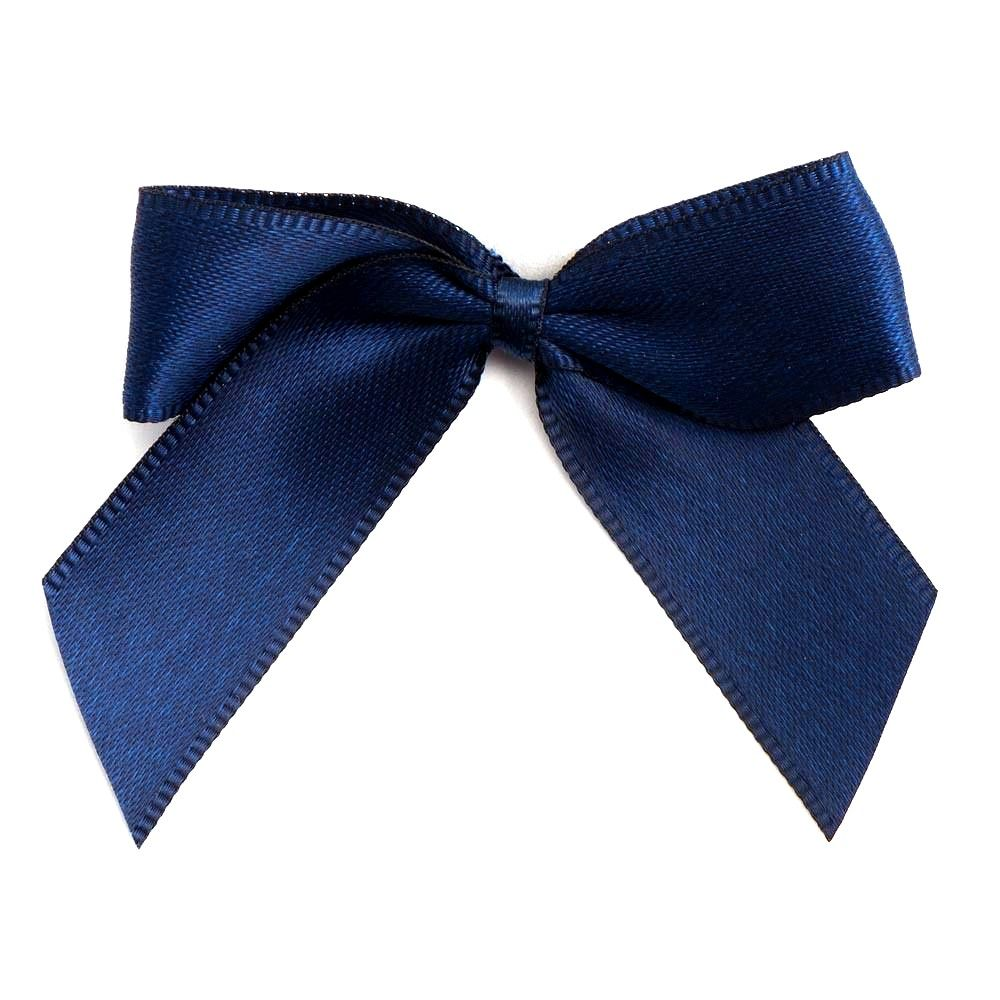 Satin Fabric 15mm Ribbon Bows - Navy Blue