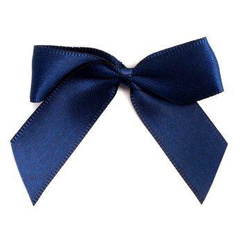 Satin Fabric 15mm Ribbon Bows - Navy Blue